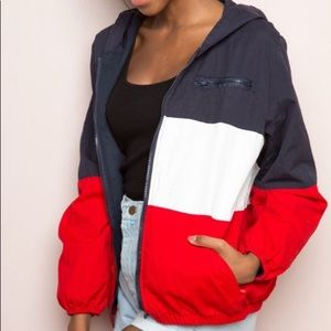 Red, white and blue Brandy Melville windbreaker.